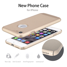 For Apple iPhone 7 6 6S 5 5S Plus SE Mesh Net Grid Hollow Out Dot Ventilating Matte PC Hard Back Cover Case