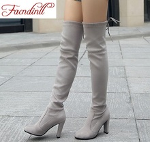 FACNDINLL designer boots high heels woman stretch fabric over the knee boots women autumn shoes ladies winter motorcycle boot