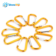 10pcs Durable Aluminium Alloy Climbing Carabiner Hook D shape Carabiner Keychain Clip Buckles Quick Release Key Ring Snap Travel(China)
