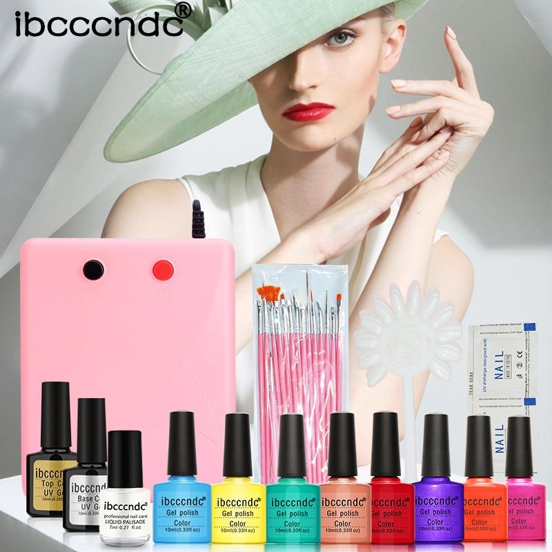 Professional Nail Art Set 8 Colors 10ml UV Gel Kit Base Top Coat Painting Brushes 36W UV Lamp wit False Nail Tips Manicure Tools<br>