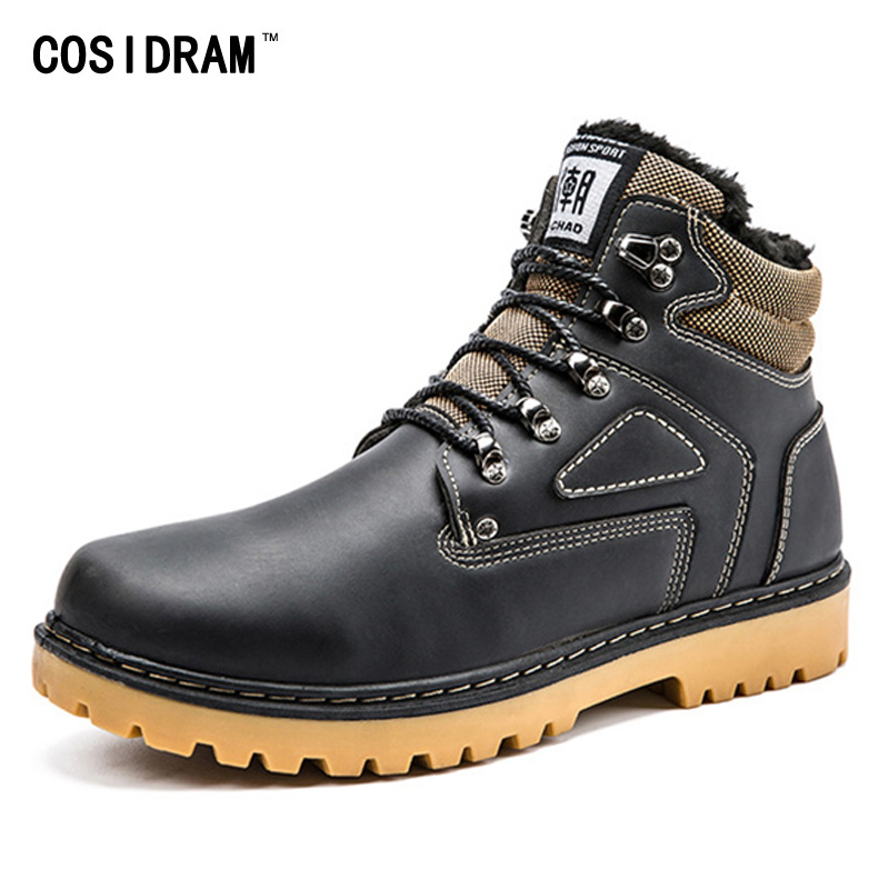 COSIDRAM 2017 Ankle Motorcycle Boots With Fur Fash...