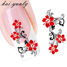 kai yunly 1PC DIY Red Flowers Design Nail Art Alloy Decoration Adhesive Tips Foil Fingernails Stickers Decal Fingernails Oct 2