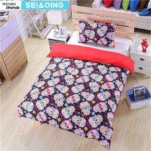 Suger skull bedding sets girl red 3d flowers comforter covers twin full queen king size halloween decor bed clothes pillow cases