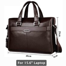 Genuine leather briefcase, laptop leather bag, for 15 inch notebook computer, 15.6 inch laptop bag(China)