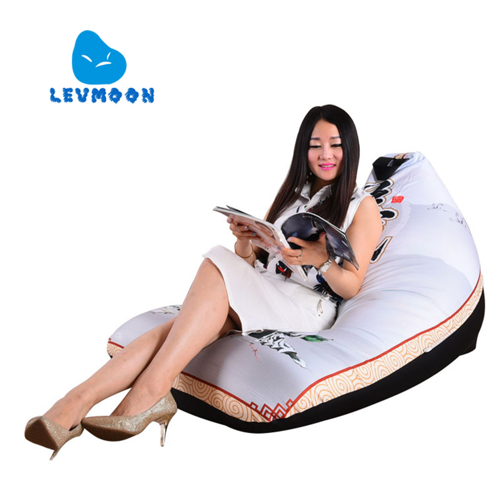 LEVMOON Beanbag Sofa Chair YI Pring Seat Zac Comfort Bean Bag Bed Cover Without Filling 100% Cotton Indoor Beanbags Lounge Chair<br>
