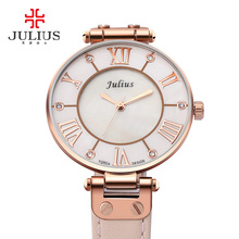 Brand new woman watches Julius Lady Quartz Hours Best Fashion Dress Girl Birthday Gift Leather watch Shell Retro Rome Wristwatch