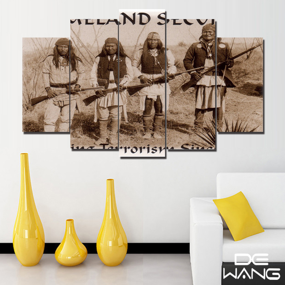 5 Pieces Canvas Art Traditional Indian People Wall Art Pictures Abstract Paintings On Canvas Wall Stick Bedroom Home Decoration(China)