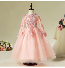 Elegant Pink Tulle Flower Girl Dress For Wedding Long Sleeve Appliques Kids Party Prom Dress First Communion Dresses Princess(China)