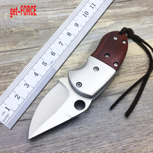 get-FORCE Newest D2 Steel Tactical Folding Knife,Collection Mini Folder Knife,Survival Pocket Knives Tools,Outdoor Camping Knive(China)