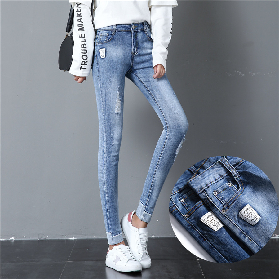 Fashion Jeans For Women High Waist Ripped Elastic Ankle Length Casual Denim Pencil Pants Skinny Female Trousers Stretch Jeans