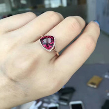 Natural red garnet stone Ring Natural gemstone Ring 18k rose gold diamond trendy Luxury  Triangle women's party fine Jewelry