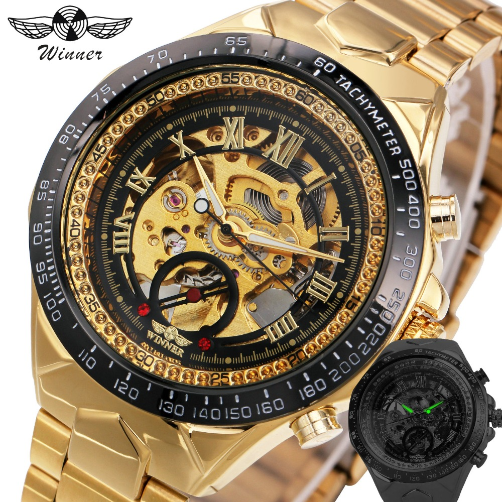 2017 Royal WINNER Men Automatic Mechanical Watches Skeleton Dial Golden Wrist Watch Roman Numerals Stainless Steel Band Fashion <br>