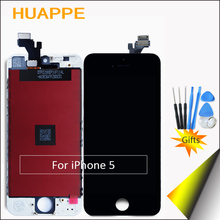 HUAPPE 1PCS AAA Excellent Quality Display LCD Screen For Apple iPhone 5 LCD Touch Screen Replacement 4.0 inches White Black gift