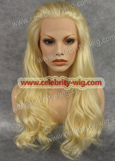 Celebrity top fashion long style body wave synthetic lace front blonde wig<br><br>Aliexpress