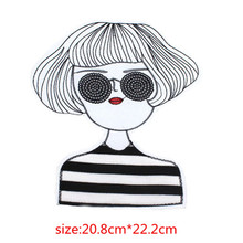 Embroidered Iron On Patches the Sunglasses girl patch big accessories cartoon logo badge DIY t shirt iron on Clothing patch(China)