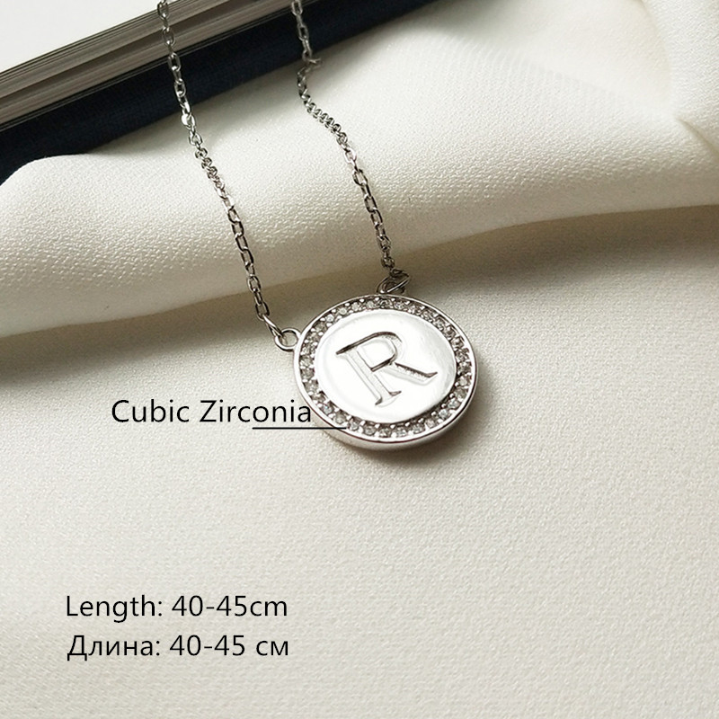 SN-IN-B394 LBLS Real 925 Sterling Silver Chain CZ Diamond Round Letter R Necklaces Pendants Jewelry for Women Girls Necklace Chain 5