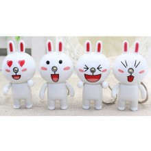 Cartoon Cute Emotional Rabbit LED Toy  Keychain with Sound and Light  Key Ring Pendant Gift Random Style TY