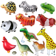 1pc Cute Walking Animals Balloon Pet Cat Giraffe Dinosaur Frog Walk Foil Balloon For Baby Shower Decorations Kids Birthday Gifts(China)