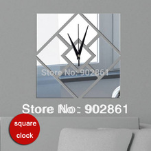 Funlife Mirror Wall Clock DIY rectangle 3d wall square wall stickers box of the mirror clock tv sofa weeding ceiling decoratio