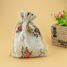 10pcs/lot Small Drawstring Cotton Bag for Gift Sachet Grocery Storage Pouch Cute Craft Packaging Bags 10*14cm Flower Pattern(China)