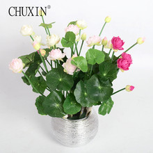 Image Mini silk lotus artificial flower 4 colors Green plants decoration for home hotel garden table decor