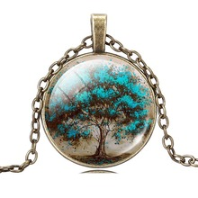 2017 Charms Tree of Life Glass Cabochon Statement Necklace & Pendant Jewelry Vintage Bronze Chain Choker Necklace For Women Gift(China)
