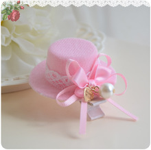 Pearl Ribbon pink fancy top hat for girl hair accessories kids children hairband hair clips barrettes kk1412