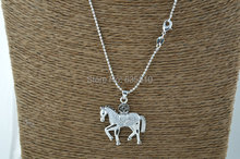 1 pc Cubic Zircon Beads Cute Horse Charms Pendant Chains Necklace Fashion Woman Jewelry