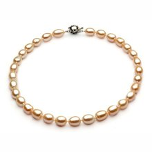 8-9MM Size OVAL/RICE Shape Graceful Natural Freshwater Pearl Necklace Fashion Charm Healthy Jewelry Nice Jewellery Accessory