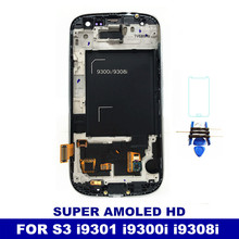 Tested Working Super AMOLED LCD For Samsung Galaxy S3 Neo i9300i i9301 i9301i i9308i Phone Screen Digitizer Assembly with Frame