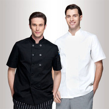 Wholesale Retail Checkedout Custom Logo Solid Chef Uniform Men Women Polyester Cotton Waiters Uniforms S-3XL Free Shipping(China)