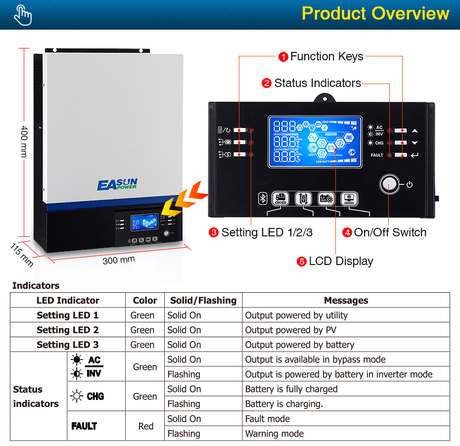 EASUN POWER 3000W Solar Inverter 230Vac 24Vdc 80A MPPT Solar Charger Bluetooth For Mobile Monitoring Supports USB LCD Control_05