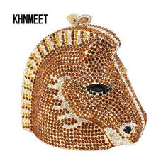 Hollow out Luxury crystal bag horse head Evening Bag Burgundy Diamond Wine banquet Bag Rhinestone Bride Purse Women Handbag 026(China)