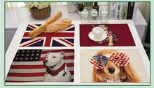 Animal series of cotton and linen insulation placemat The personality USA and UK flag printed pets table mat Home Decor(China)
