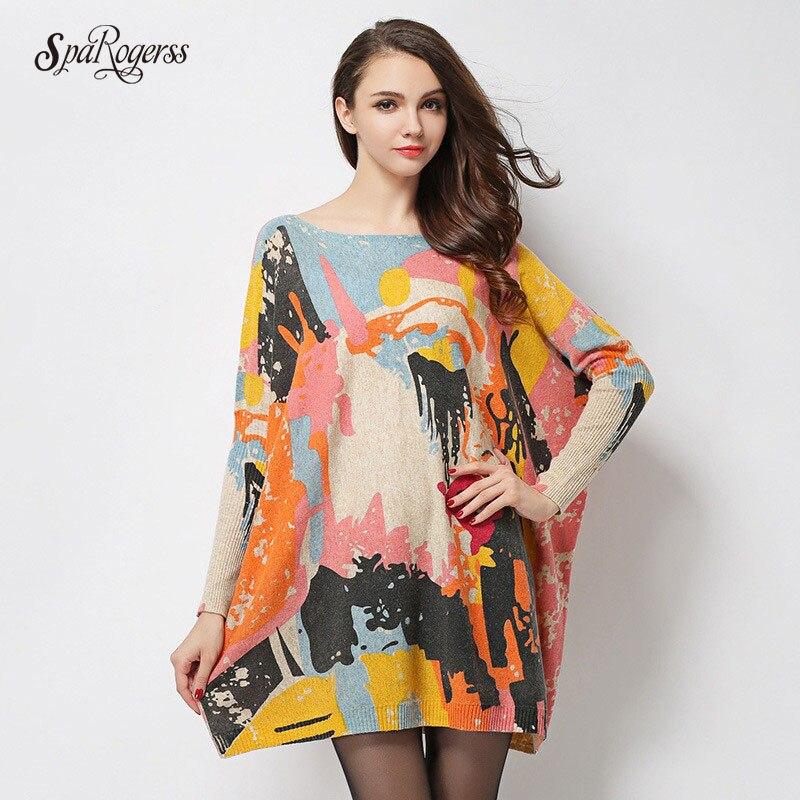 SpaRogerss Spring Winter 2018 Oversize Colorful Dress Wool Sweater Full Sleeves Oil Printting Pullover Knitted Female DressesÎäåæäà è àêñåññóàðû<br><br>
