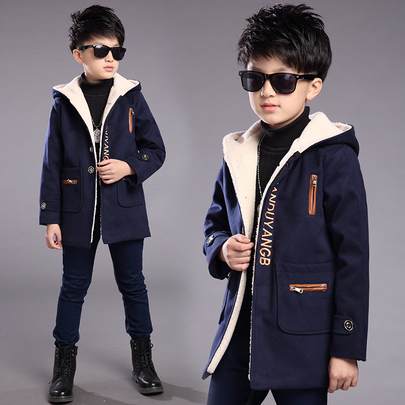 2017 new Korean childrens clothing coat boy in the long section of the coat autumn and winter clothes thick wool jacket<br>