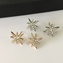 New fashion octagonal star gold and silver crystal earrings fashion girl's gift(China)