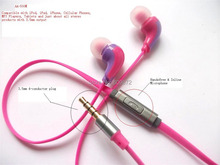 3.5mm Handsfree Earbuds with Microphone ,  Red Color , 4-conductor plug ,  for MP3 MP4 Cellphone, Singapore free shipping