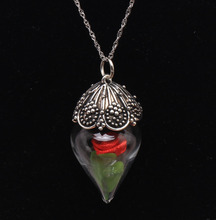 fine jewelry pendant necklace Glass bottle Rose flower Anti Silver Color 16-30 water wave chain Vintage Women wedding bride gift