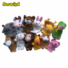 Surwish 12 Pcs/Set Soft Plush Twelve Symbolic Animals Finger Puppet Set Children Story Telling Helper Dolls Toys For Kids Baby(China)