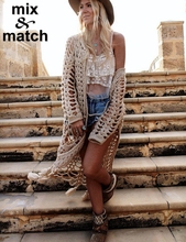 Fashion New Lace Long Cardigan Fringed Openwork Handmade Crochet Cardigan CD12001B