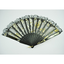 Boutique New Practical Durable Black Organza Sector Plastic Ribs Dance Foldable Hand Fan(China)