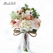 2017 Countryside Style Artificial Wedding Bouquets For Brides Outside Lace Wedding Flowers Brooch Bouquets Bouquet De Mariage(China)