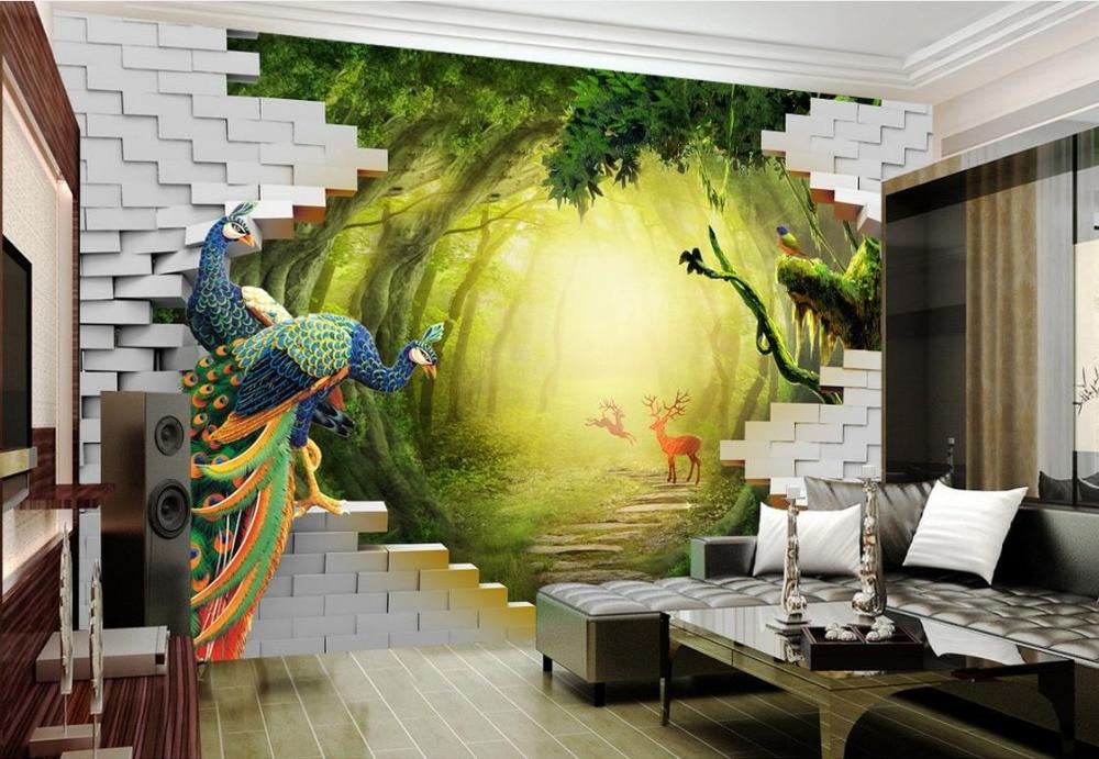 3d stereoscopic mural wallpaper Custom modern wallpaper Garden velvet deer TV backdrop wall papers home decor<br>