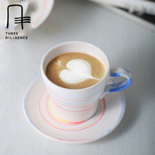 Love Coffee Cup Modern Rainbow Ceramic Coffee Cup & Saucer Sets Porcelain Flower Tea Cup Handle espresso Cups Jingdezhen(China)