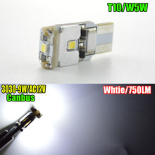 1PCS 9W T10 led Canbus t10 3led 3030smd NO ERROR CANBUS No polarity 12V SMD White light w5w Led canbus ERROR Free(China)