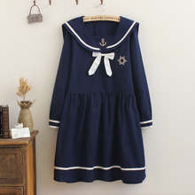 European Style College Students Navy Dress Black Sailor Collar Long Sleeve Spring Autumn Chiffon Dresses With Navy Logo Pattern