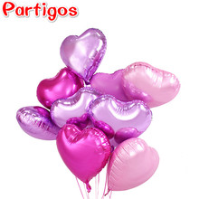 9pcs 18inch Romantic heart Pearl Purple Pink Foil Balloons helium wedding I Love You Globos Party Decor pure color balls(China)