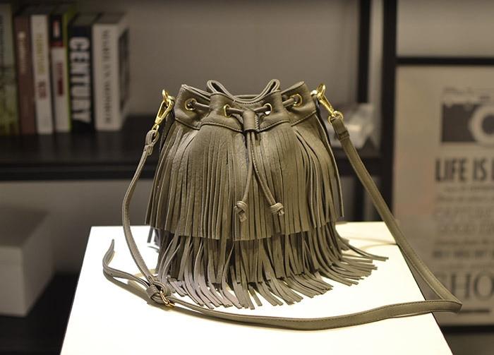 Jollque crossbody bag for women casual soft messenger bags solid saddle tassel high quality famous design Bohemia music festival