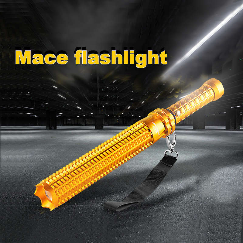 Mace  LED Aluminum alloy self-defense torch light plug-in scalable outdoor security patrol the searchlight Contain the battery<br>